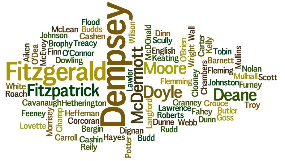 Surname Wordcloud 2016 Laois