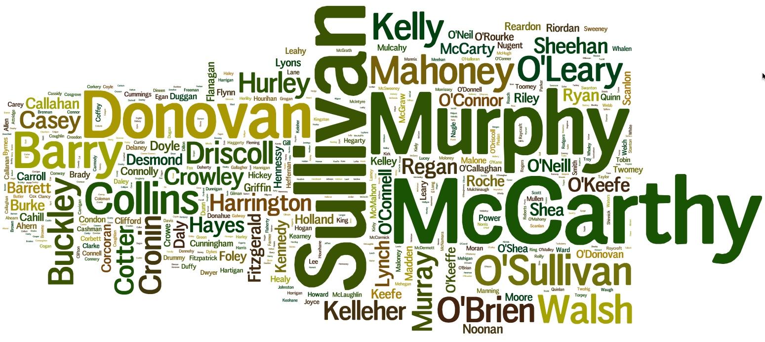 Surname Wordcloud March 2016 Cork