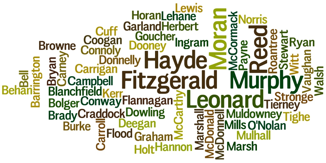 Surname Wordcloud March 2016 Kildare