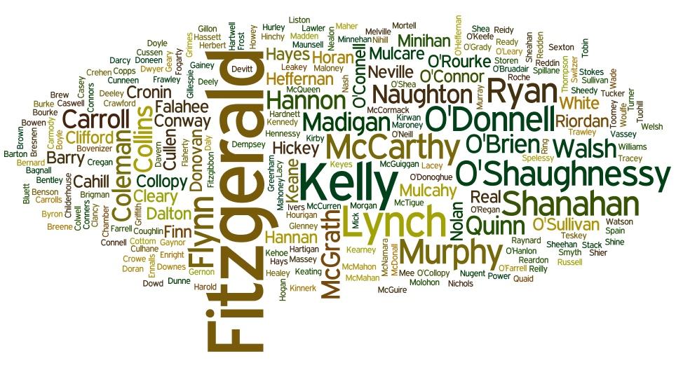 Surname Wordcloud March 2016 Limerick