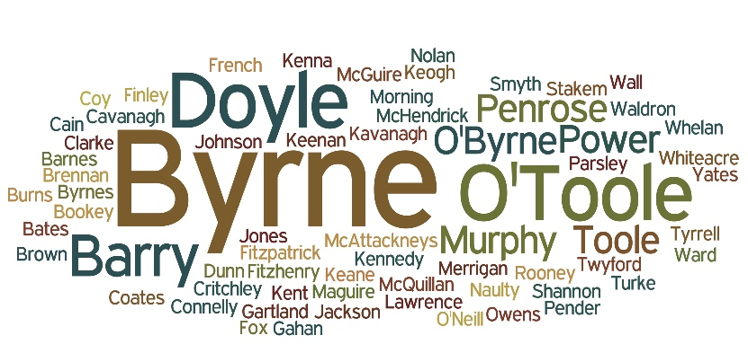Surname Wordcloud March 2016 Wicklow